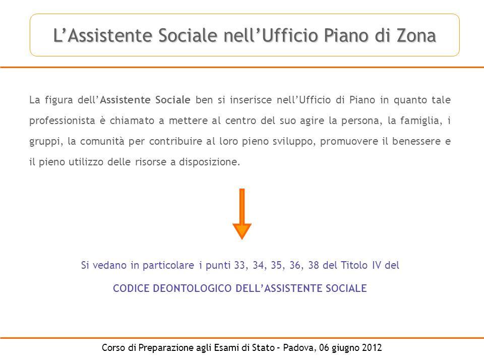 Corso di Preparazione agli Esami di Stato – Padova, 06 giugno 2012 La figura dellAssistente Sociale ben si inserisce nellUfficio di Piano in quanto ta