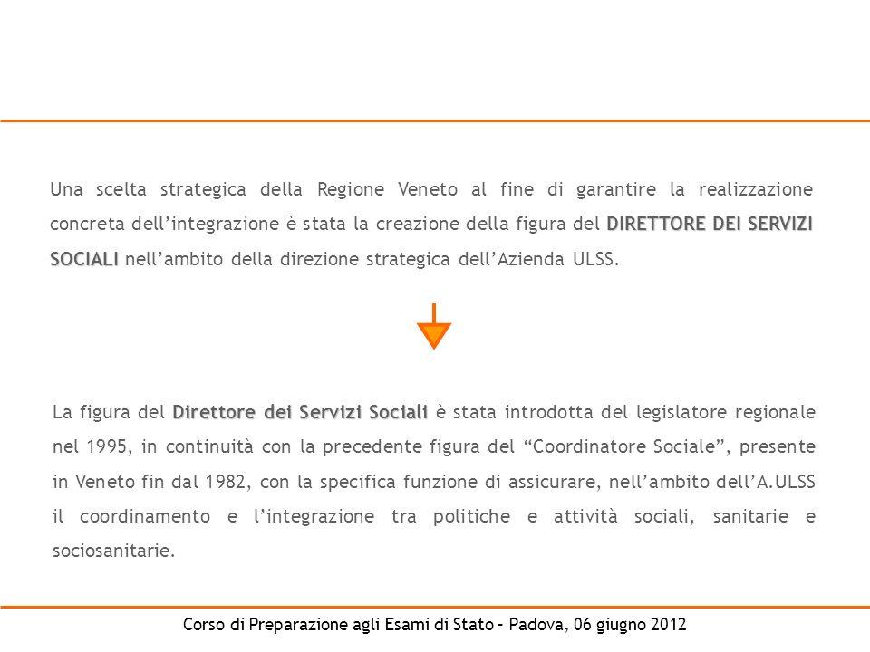 Corso di Preparazione agli Esami di Stato – Padova, 06 giugno 2012 DIRETTORE DEI SERVIZI SOCIALI Una scelta strategica della Regione Veneto al fine di
