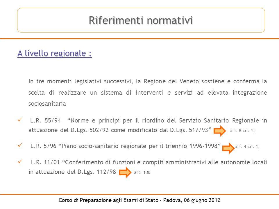 Corso di Preparazione agli Esami di Stato – Padova, 06 giugno 2012 A livello regionale : In tre momenti legislativi successivi, la Regione del Veneto