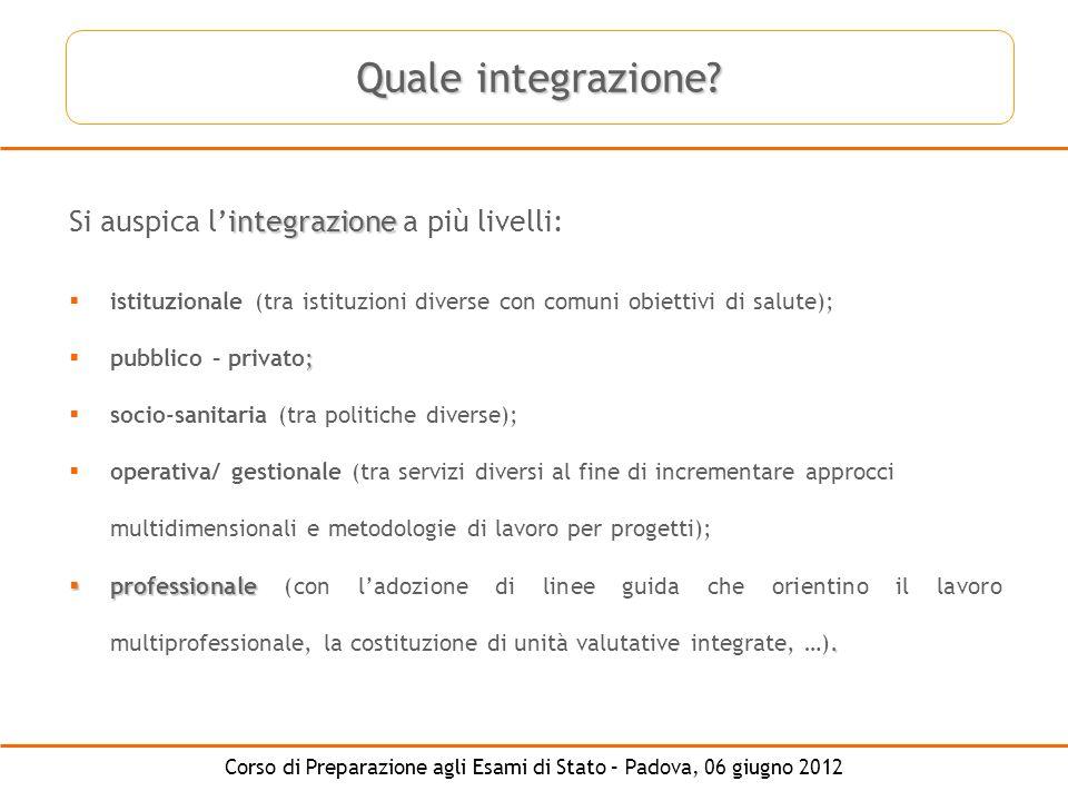 Corso di Preparazione agli Esami di Stato – Padova, 06 giugno 2012 integrazione Si auspica lintegrazione a più livelli: istituzionale (tra istituzioni