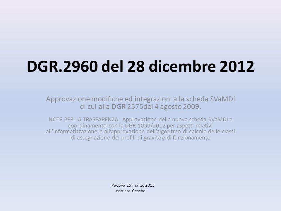 DGR.2960 del 28 dicembre 2012 Approvazione modifiche ed integrazioni alla scheda SVaMDi di cui alla DGR 2575del 4 agosto 2009. NOTE PER LA TRASPARENZA
