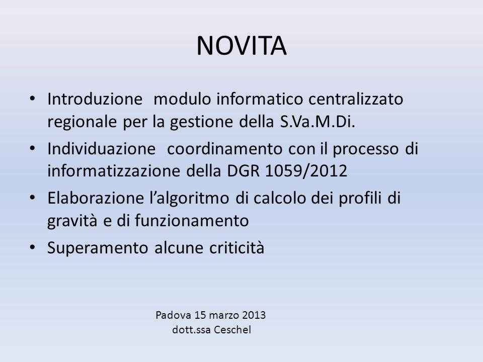 NOVITA Introduzione modulo informatico centralizzato regionale per la gestione della S.Va.M.Di. Individuazione coordinamento con il processo di inform