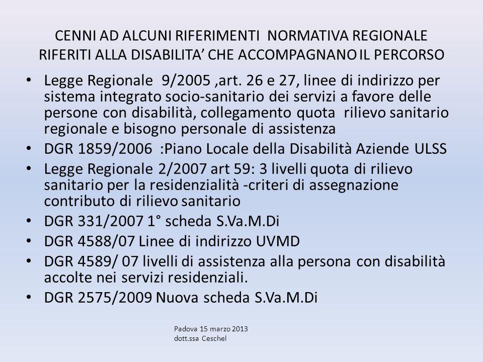 CENNI AD ALCUNI RIFERIMENTI NORMATIVA REGIONALE RIFERITI ALLA DISABILITA CHE ACCOMPAGNANO IL PERCORSO Legge Regionale 9/2005,art. 26 e 27, linee di in