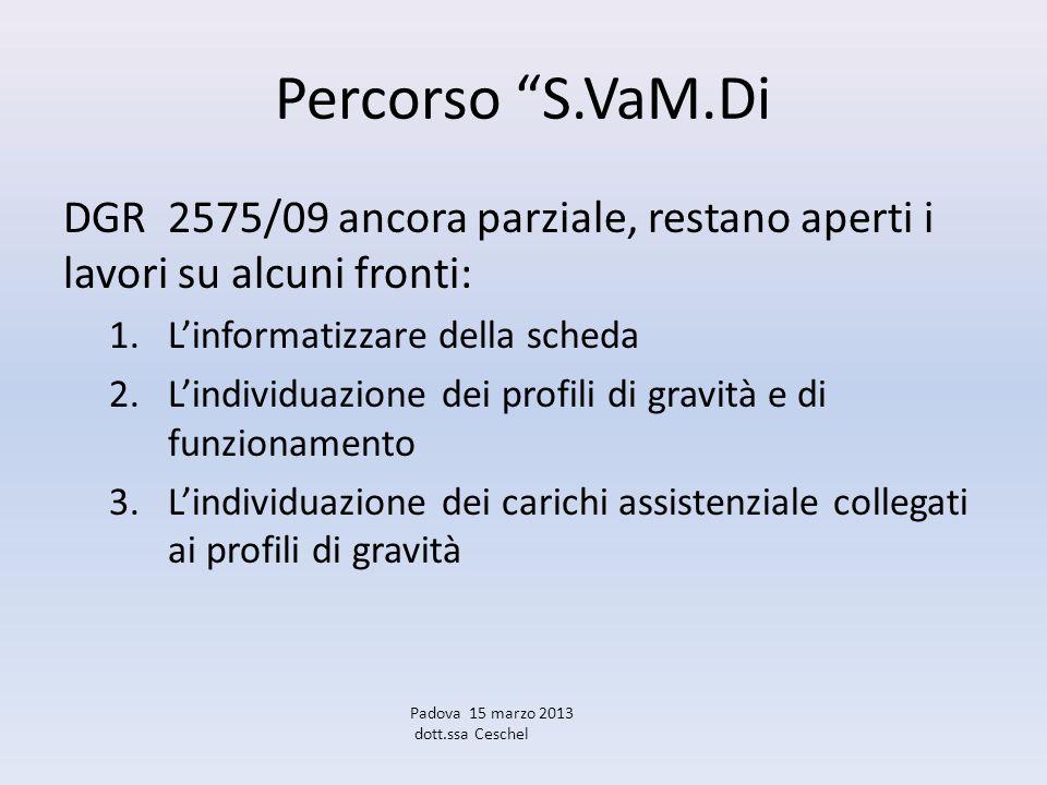 Percorso S.VaM.Di DGR 2575/09 ancora parziale, restano aperti i lavori su alcuni fronti: 1.Linformatizzare della scheda 2.Lindividuazione dei profili