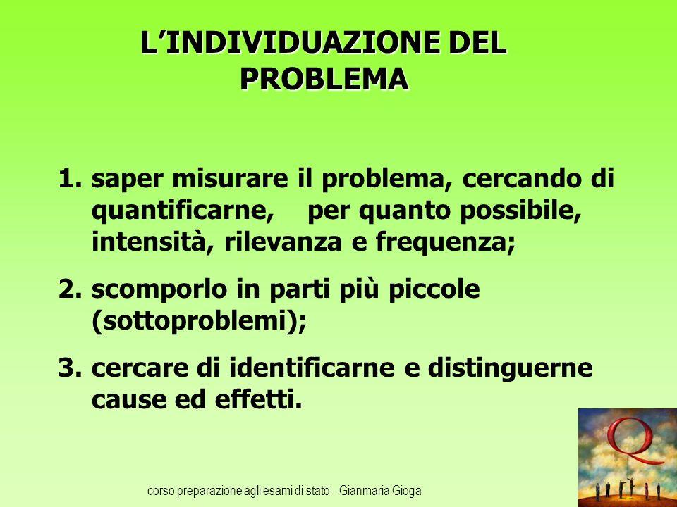 corso preparazione agli esami di stato - Gianmaria Gioga LINDIVIDUAZIONE DEL PROBLEMA 1.saper misurare il problema, cercando di quantificarne, per qua