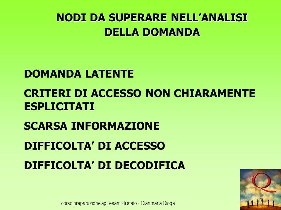corso preparazione agli esami di stato - Gianmaria Gioga NODI DA SUPERARE NELLANALISI DELLA DOMANDA DOMANDA LATENTE CRITERI DI ACCESSO NON CHIARAMENTE