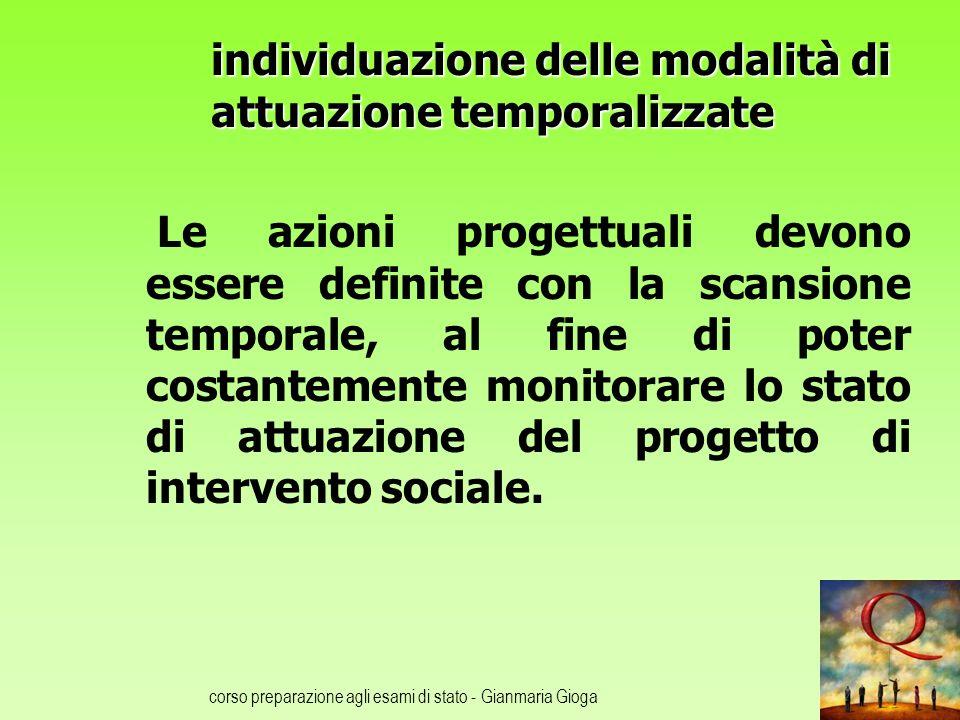 corso preparazione agli esami di stato - Gianmaria Gioga individuazione delle modalità di attuazione temporalizzate Le azioni progettuali devono esser