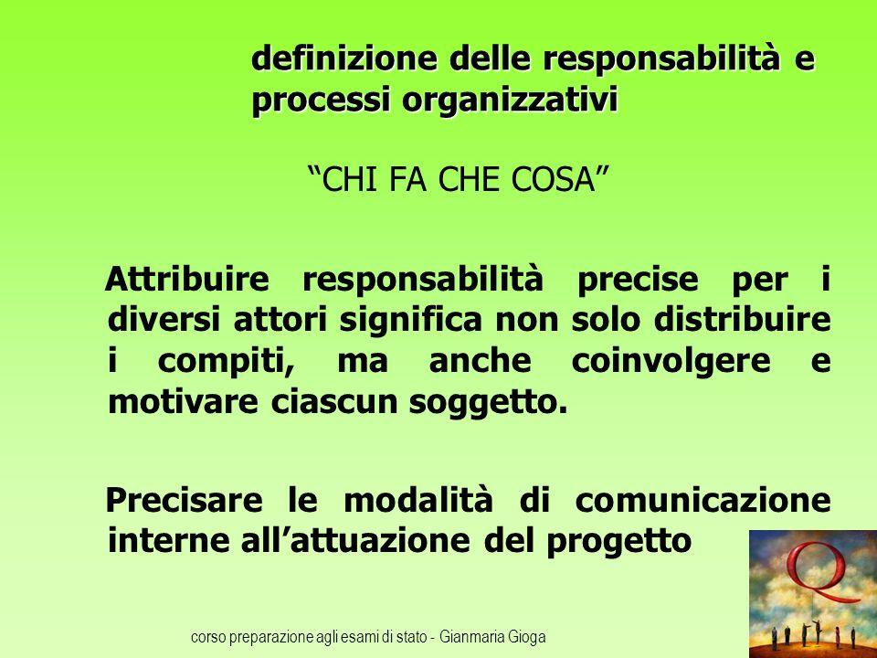 corso preparazione agli esami di stato - Gianmaria Gioga definizione delle responsabilità e processi organizzativi CHI FA CHE COSA Attribuire responsa