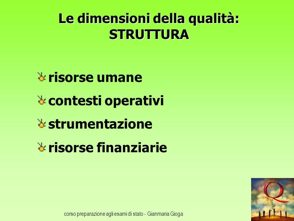 corso preparazione agli esami di stato - Gianmaria Gioga Le dimensioni della qualità: STRUTTURA risorse umane contesti operativi strumentazione risorse finanziarie