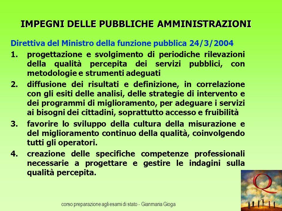 corso preparazione agli esami di stato - Gianmaria Gioga IMPEGNI DELLE PUBBLICHE AMMINISTRAZIONI Direttiva del Ministro della funzione pubblica 24/3/2