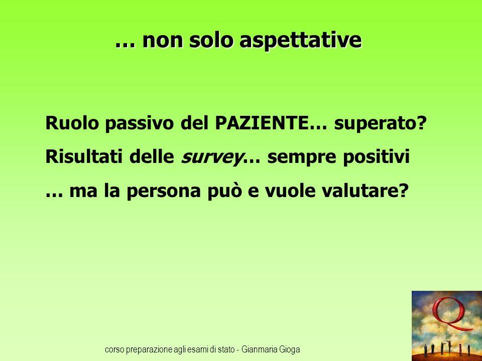 corso preparazione agli esami di stato - Gianmaria Gioga … non solo aspettative Ruolo passivo del PAZIENTE… superato.