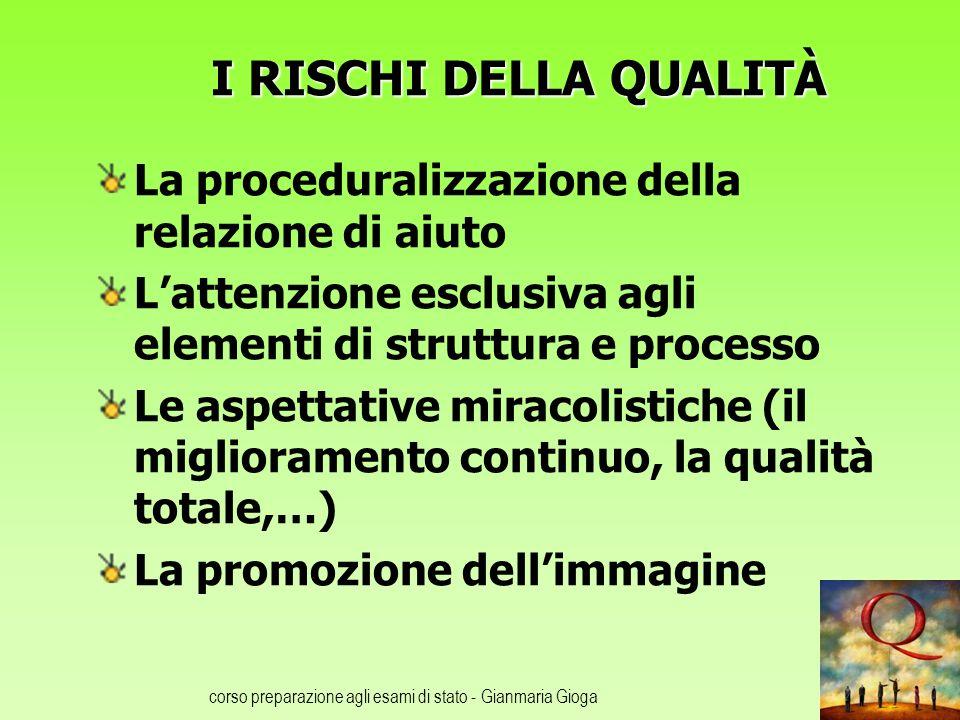 corso preparazione agli esami di stato - Gianmaria Gioga I RISCHI DELLA QUALITÀ La proceduralizzazione della relazione di aiuto Lattenzione esclusiva
