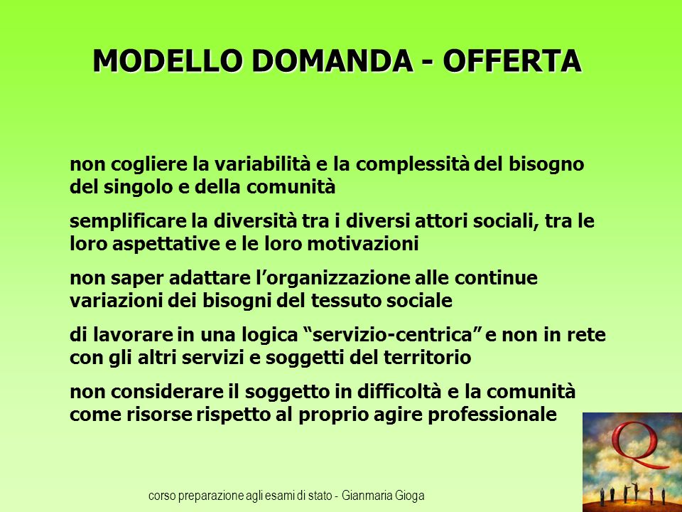 corso preparazione agli esami di stato - Gianmaria Gioga MODELLO DOMANDA - OFFERTA non cogliere la variabilità e la complessità del bisogno del singol
