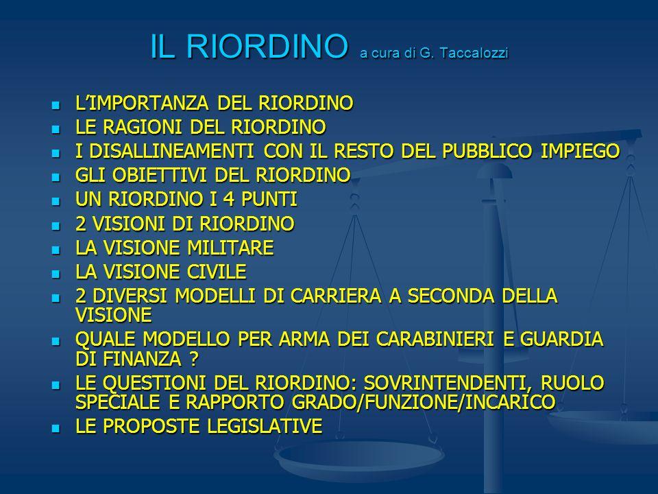 IL RIORDINO a cura di G. Taccalozzi LIMPORTANZA DEL RIORDINO LIMPORTANZA DEL RIORDINO LE RAGIONI DEL RIORDINO LE RAGIONI DEL RIORDINO I DISALLINEAMENT