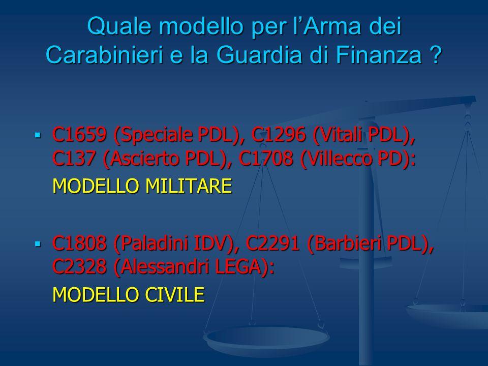 Quale modello per lArma dei Carabinieri e la Guardia di Finanza ? C1659 (Speciale PDL), C1296 (Vitali PDL), C137 (Ascierto PDL), C1708 (Villecco PD):