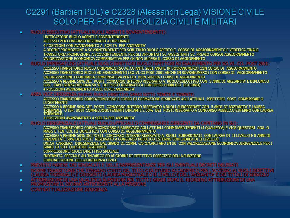 C2291 (Barbieri PDL) e C2328 (Alessandri Lega) VISIONE CIVILE SOLO PER FORZE DI POLIZIA CIVILI E MILITARI RUOLO ESECUTIVO (ATTUALI RUOLI AGENTI E SOVR