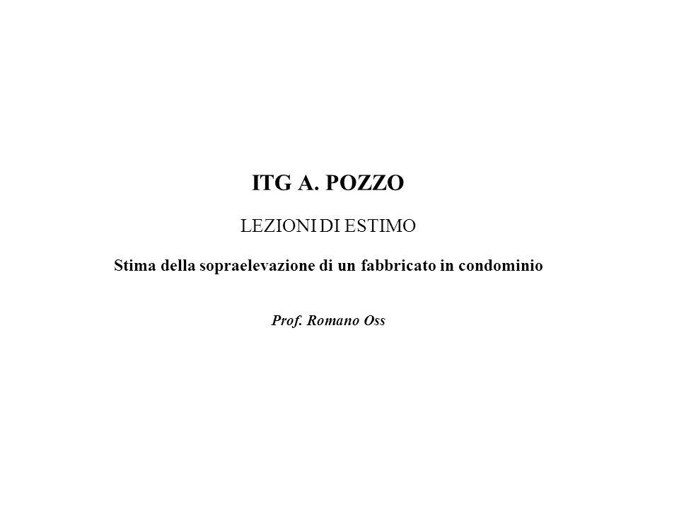 ITG A. POZZO LEZIONI DI ESTIMO Stima della sopraelevazione di un fabbricato in condominio Prof. Romano Oss
