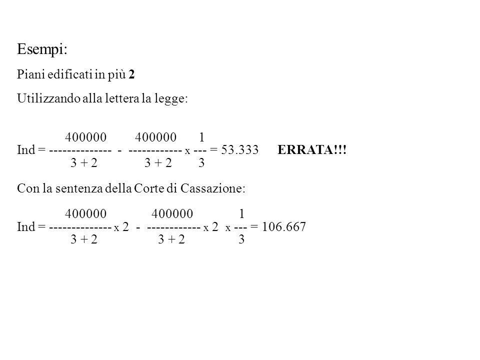 Esempi: Piani edificati in più 2 Utilizzando alla lettera la legge: 400000 400000 1 Ind = -------------- - ------------ x --- = 53.333 ERRATA!!! 3 + 2