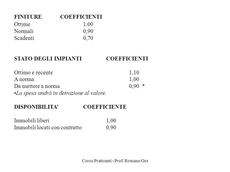 Corso Praticanti - Prof. Romano Oss FINITURECOEFFICIENTI Ottime1.00 Normali0,90 Scadenti0,70 STATO DEGLI IMPIANTICOEFFICIENTI Ottimo e recente1,10 A n