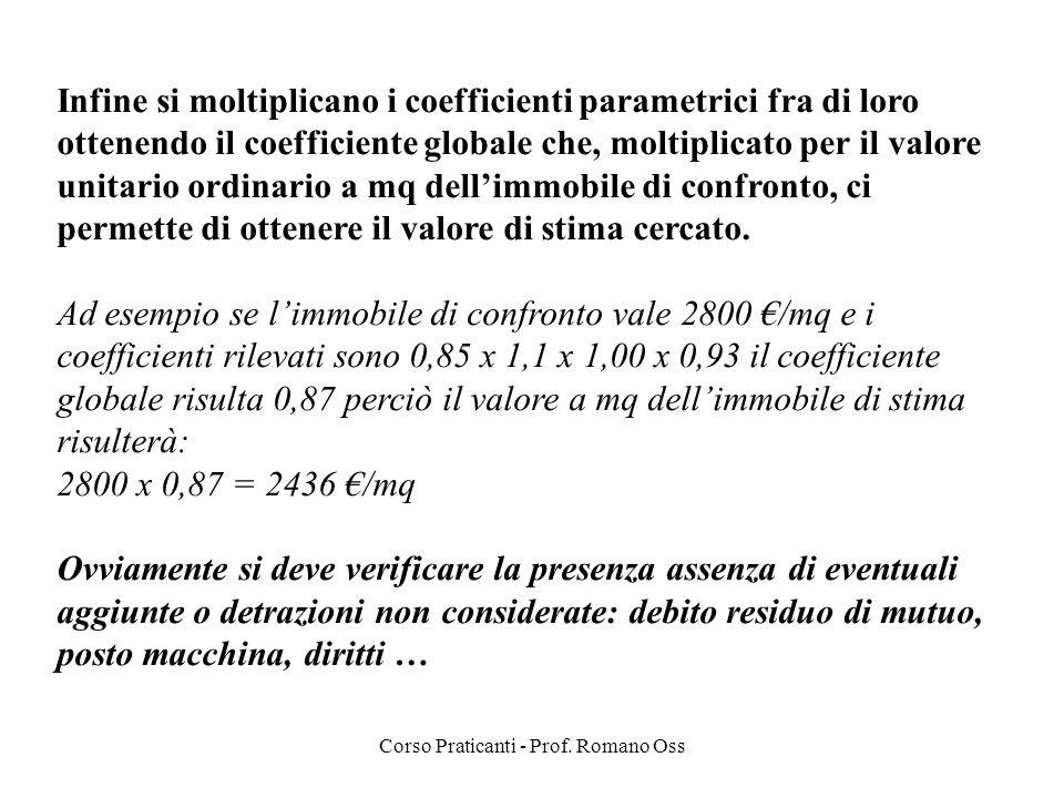 Corso Praticanti - Prof. Romano Oss Infine si moltiplicano i coefficienti parametrici fra di loro ottenendo il coefficiente globale che, moltiplicato