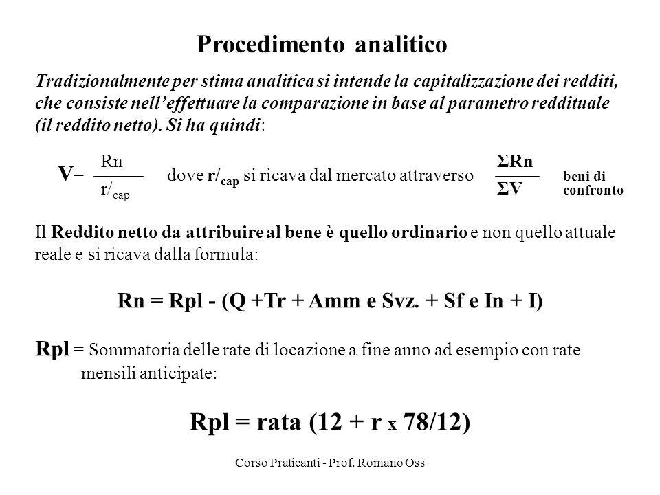 Corso Praticanti - Prof. Romano Oss Procedimento analitico Tradizionalmente per stima analitica si intende la capitalizzazione dei redditi, che consis
