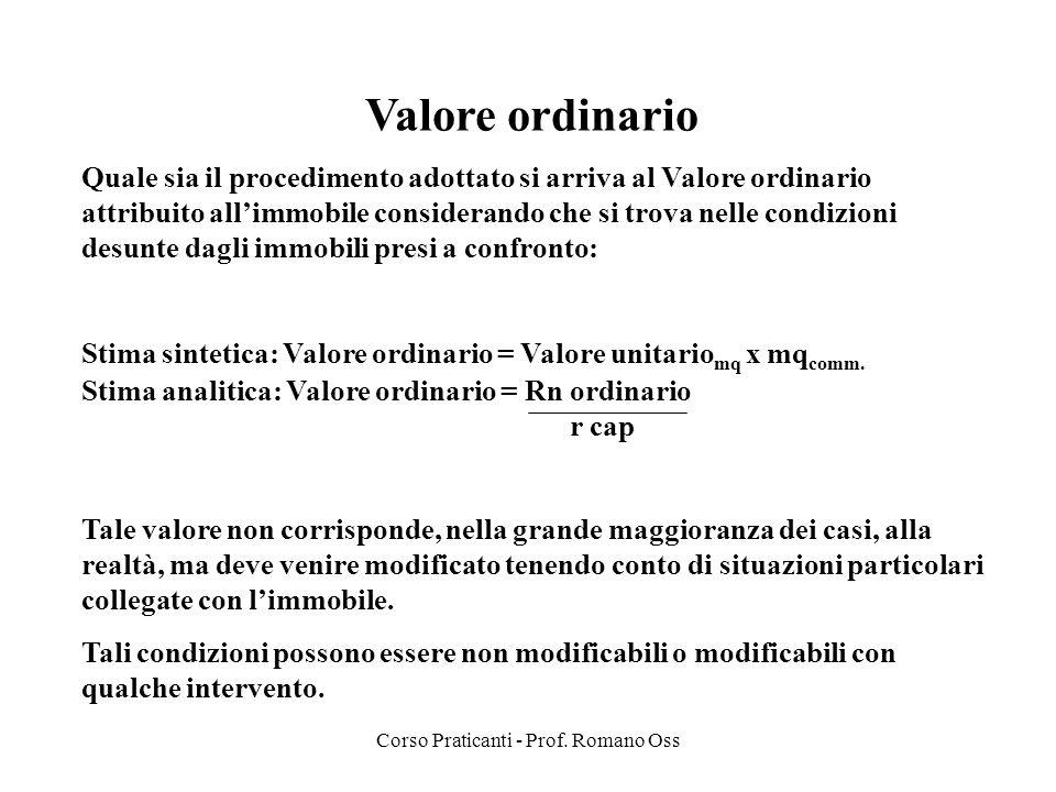 Corso Praticanti - Prof. Romano Oss Valore ordinario Quale sia il procedimento adottato si arriva al Valore ordinario attribuito allimmobile considera