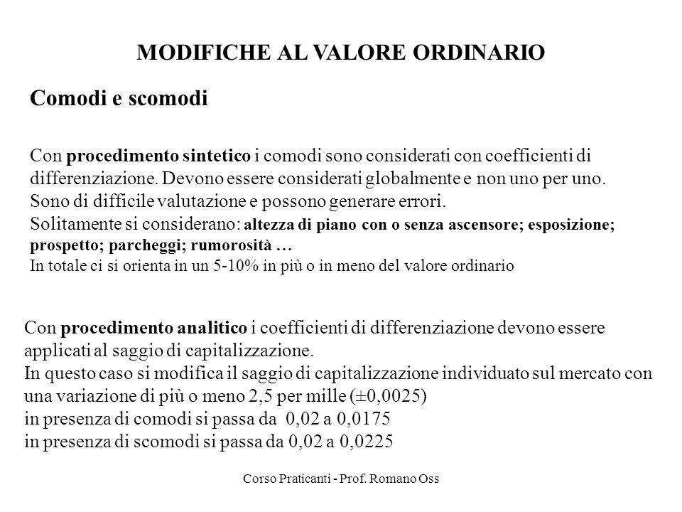 Corso Praticanti - Prof. Romano Oss Comodi e scomodi MODIFICHE AL VALORE ORDINARIO Con procedimento sintetico i comodi sono considerati con coefficien
