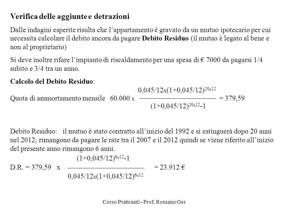Corso Praticanti - Prof. Romano Oss Verifica delle aggiunte e detrazioni Dalle indagini esperite risulta che lappartamento è gravato da un mutuo ipote