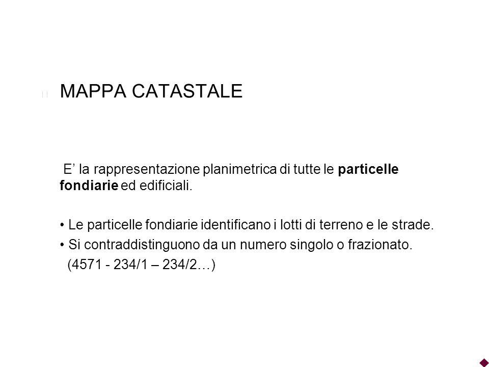 MAPPA CATASTALE E la rappresentazione planimetrica di tutte le particelle fondiarie ed edificiali. Le particelle fondiarie identificano i lotti di ter