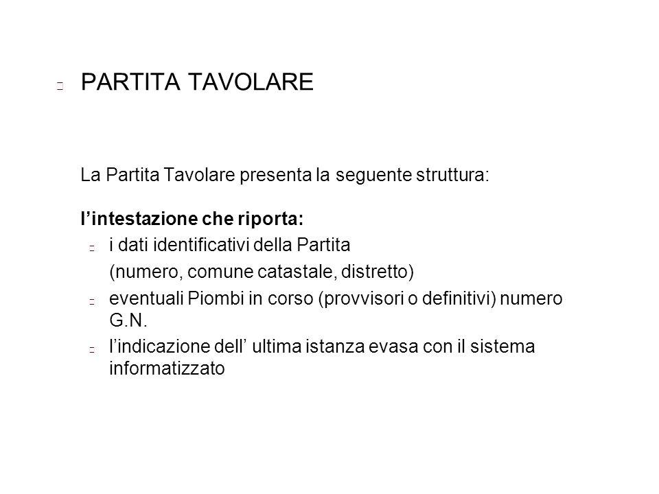 PARTITA TAVOLARE La Partita Tavolare presenta la seguente struttura: lintestazione che riporta: i dati identificativi della Partita (numero, comune ca