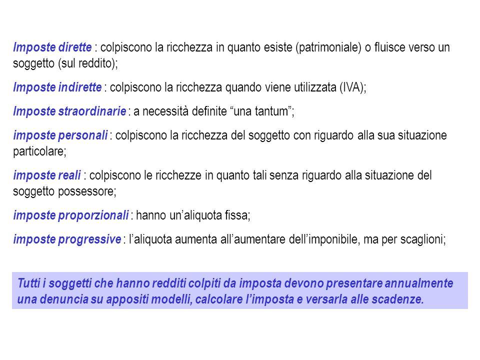 PRINCIPALI IMPOSTE ITALIANE DIRETTE Imposta sul Reddito delle Persone Fisiche (IRPEF): diretta, personale, progressiva per scaglioni.