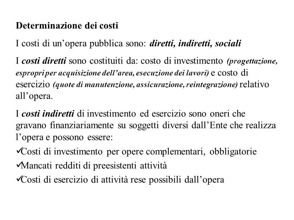 Determinazione dei costi I costi di unopera pubblica sono: diretti, indiretti, sociali I costi diretti sono costituiti da: costo di investimento (prog