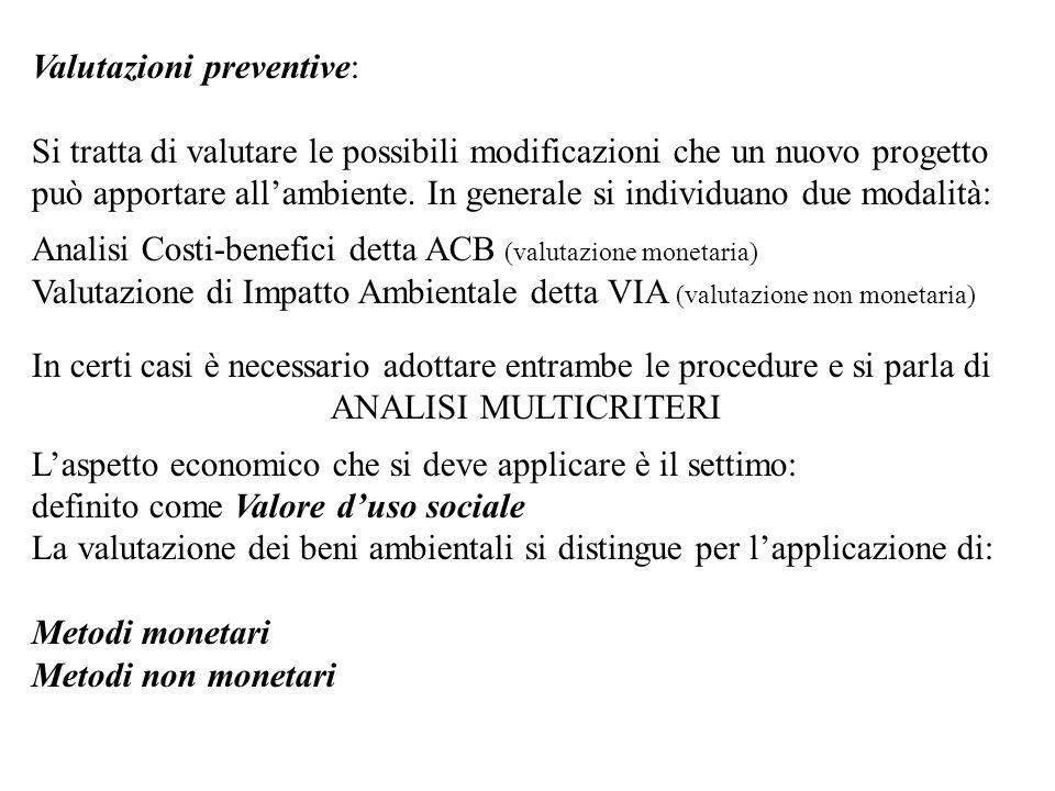 Valutazioni preventive: Si tratta di valutare le possibili modificazioni che un nuovo progetto può apportare allambiente. In generale si individuano d