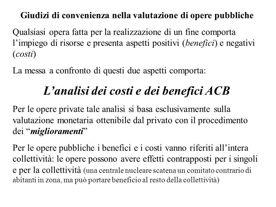 Giudizi di convenienza nella valutazione di opere pubbliche Qualsiasi opera fatta per la realizzazione di un fine comporta limpiego di risorse e prese