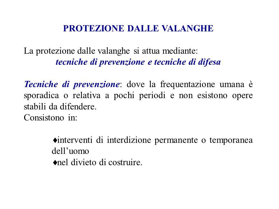 PROTEZIONE DALLE VALANGHE La protezione dalle valanghe si attua mediante: tecniche di prevenzione e tecniche di difesa Tecniche di prevenzione: dove l