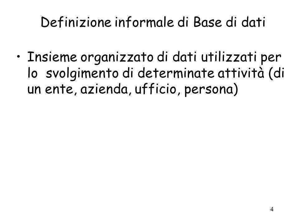 4 Definizione informale di Base di dati Insieme organizzato di dati utilizzati per lo svolgimento di determinate attività (di un ente, azienda, uffici