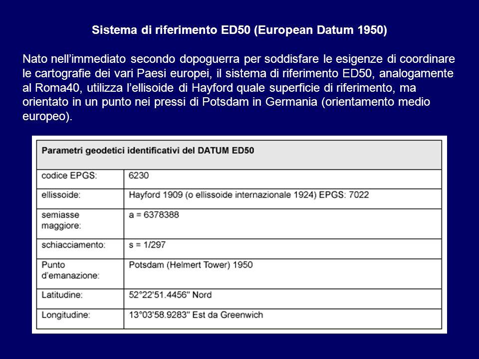 Sistema di riferimento ED50 (European Datum 1950) Nato nellimmediato secondo dopoguerra per soddisfare le esigenze di coordinare le cartografie dei va