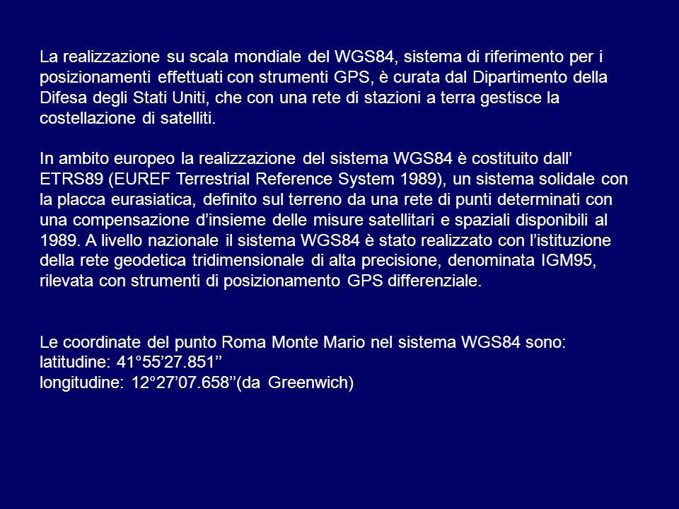 La realizzazione su scala mondiale del WGS84, sistema di riferimento per i posizionamenti effettuati con strumenti GPS, è curata dal Dipartimento dell