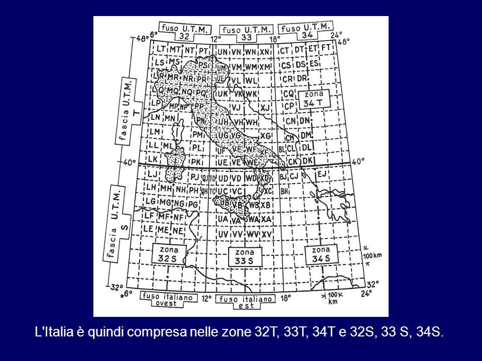 L'Italia è quindi compresa nelle zone 32T, 33T, 34T e 32S, 33 S, 34S.