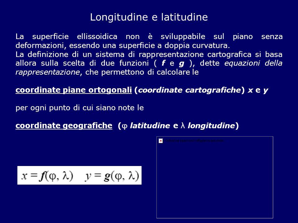 Longitudine e latitudine La superficie ellissoidica non è sviluppabile sul piano senza deformazioni, essendo una superficie a doppia curvatura. La def