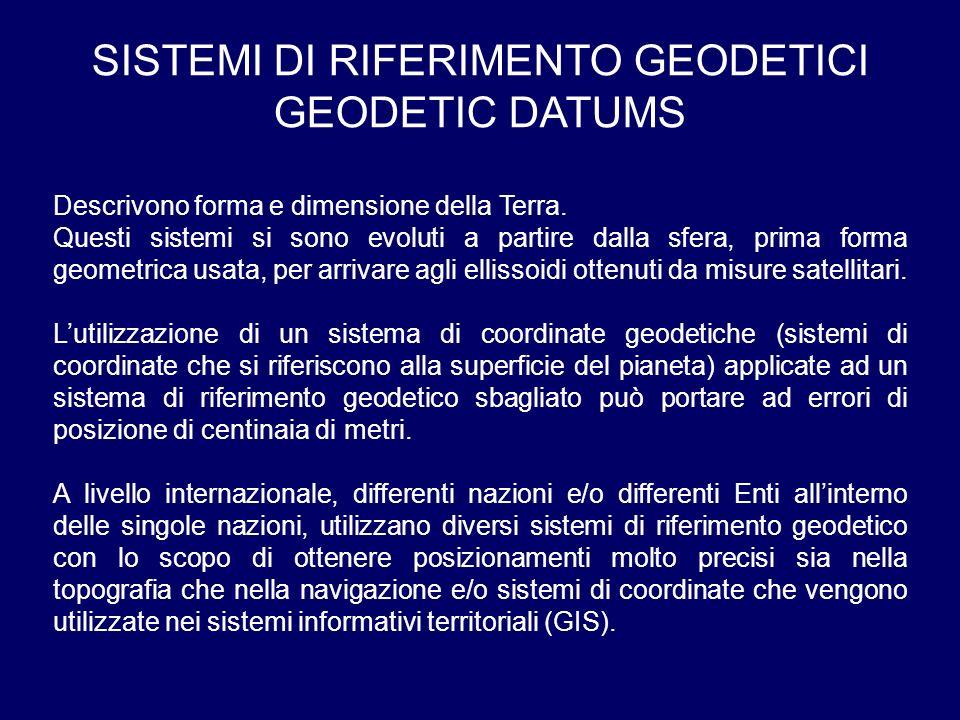 SISTEMI DI RIFERIMENTO GEODETICI GEODETIC DATUMS Descrivono forma e dimensione della Terra. Questi sistemi si sono evoluti a partire dalla sfera, prim