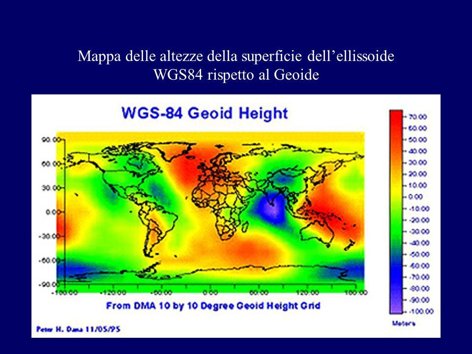 Mappa delle altezze della superficie dellellissoide WGS84 rispetto al Geoide