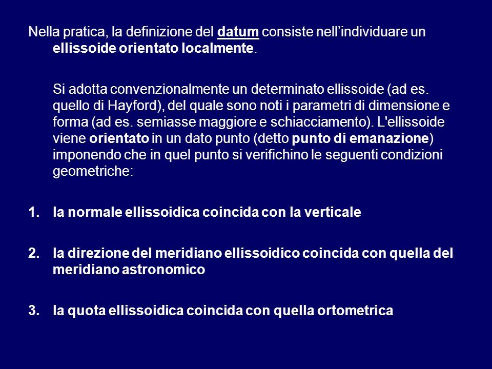 Nella pratica, la definizione del datum consiste nellindividuare un ellissoide orientato localmente. Si adotta convenzionalmente un determinato elliss