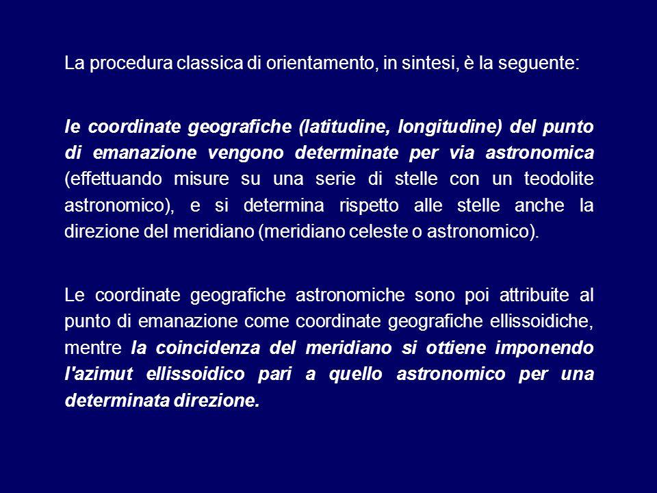 La procedura classica di orientamento, in sintesi, è la seguente: le coordinate geografiche (latitudine, longitudine) del punto di emanazione vengono