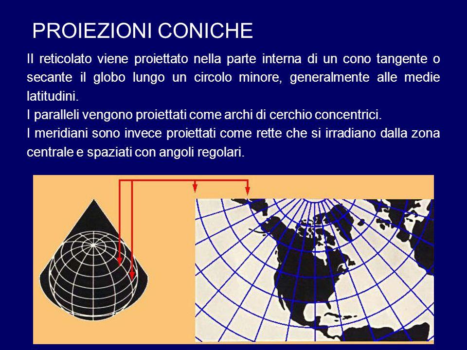 PROIEZIONI CONICHE Il reticolato viene proiettato nella parte interna di un cono tangente o secante il globo lungo un circolo minore, generalmente all