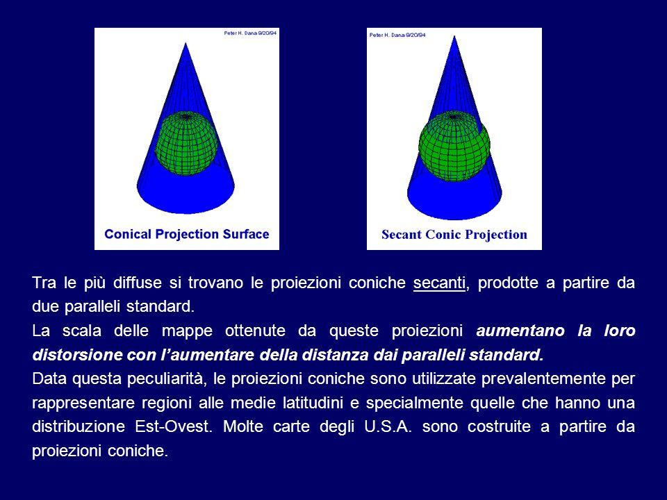 Tra le più diffuse si trovano le proiezioni coniche secanti, prodotte a partire da due paralleli standard. La scala delle mappe ottenute da queste pro