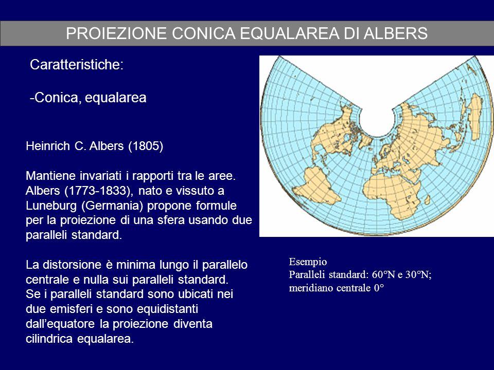 PROIEZIONE CONICA EQUALAREA DI ALBERS Caratteristiche: -Conica, equalarea Esempio Paralleli standard: 60°N e 30°N; meridiano centrale 0° Heinrich C. A
