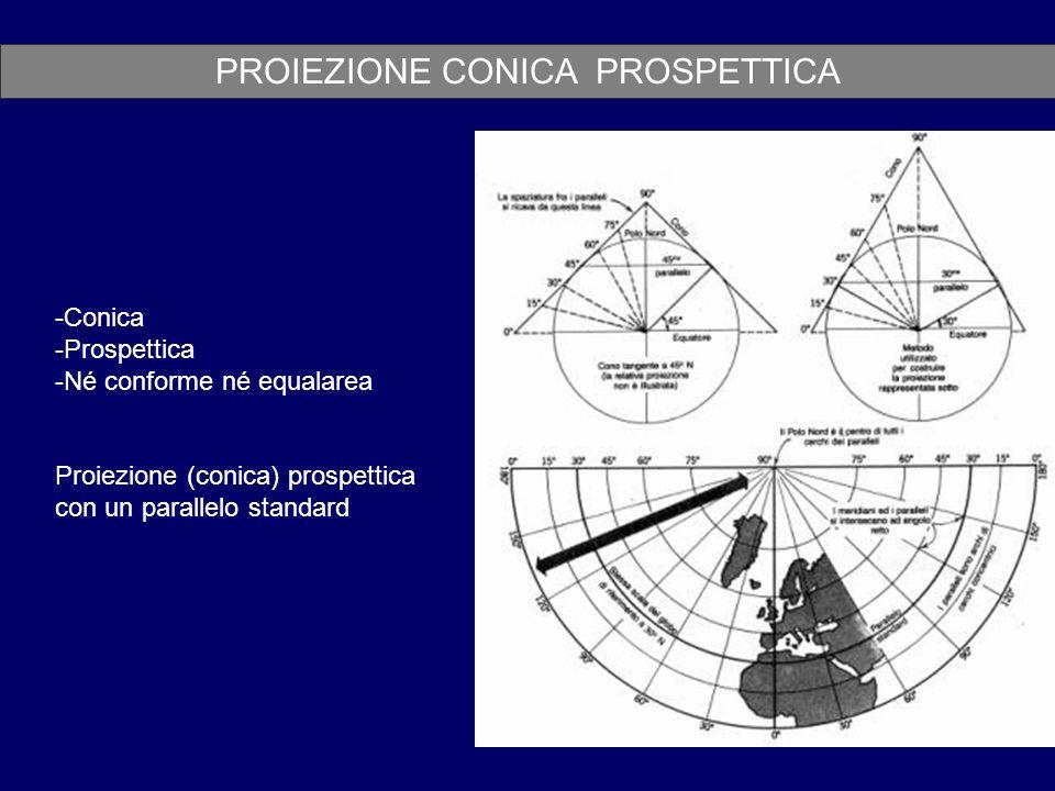 PROIEZIONE CONICA PROSPETTICA -Conica -Prospettica -Né conforme né equalarea Proiezione (conica) prospettica con un parallelo standard