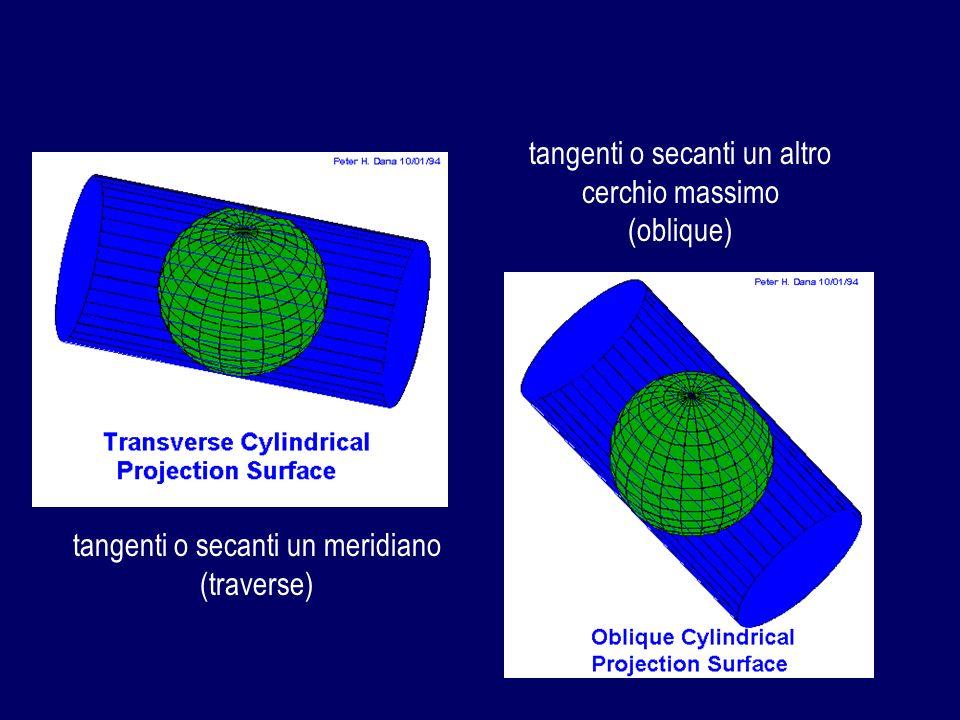 tangenti o secanti un meridiano (traverse) tangenti o secanti un altro cerchio massimo (oblique)