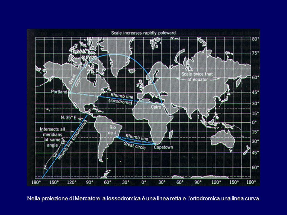 Nella proiezione di Mercatore la lossodromica è una linea retta e l'ortodromica una linea curva.